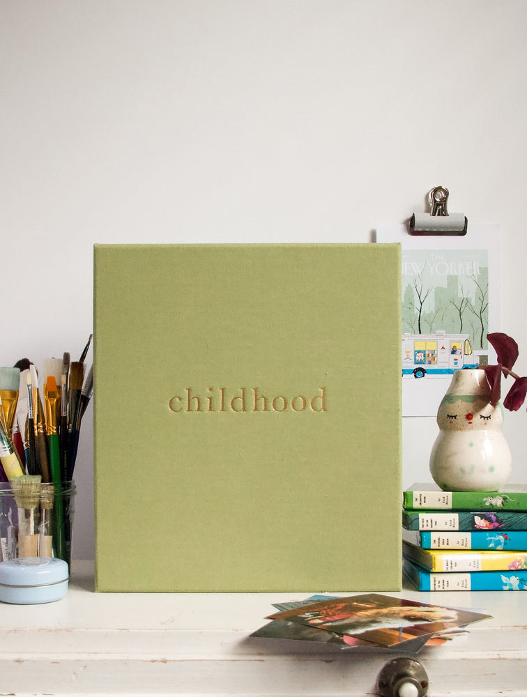 Load image into Gallery viewer, 'Your Childhood Memories' Journal & Keepsake Box in Sage Linen