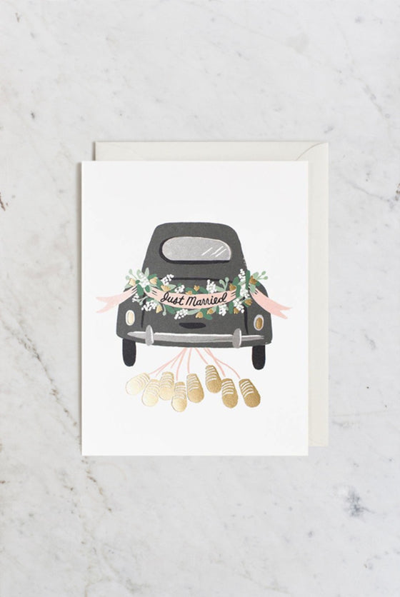 'Just Married' Getaway Greeting Card