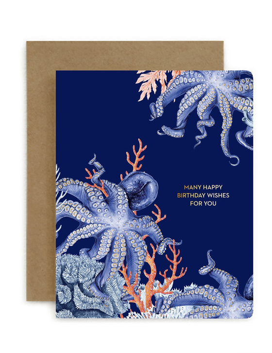 'Many Happy Birthday Wishes for You' Octopus Greeting Card