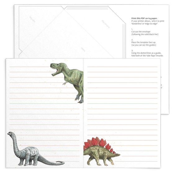 'Dinosaurs' Letter Writing Stationery (Instant Printable PDF Download)