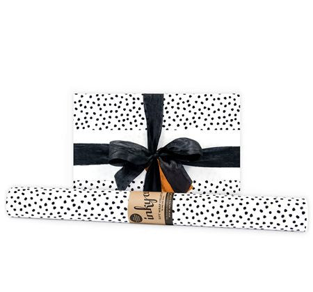 'Pebbles' Black Gift Wrap (10m Roll)