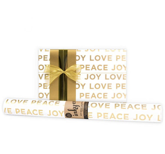 'Peace Love Joy' White & Gold Gift Wrap (10m Roll)