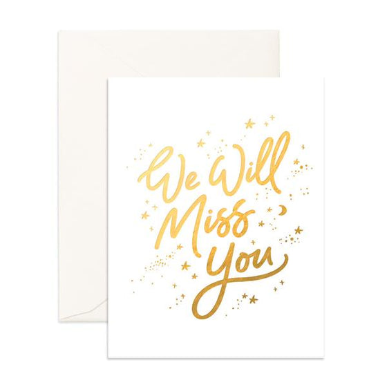 'We Will Miss You' Stardust Greeting Card