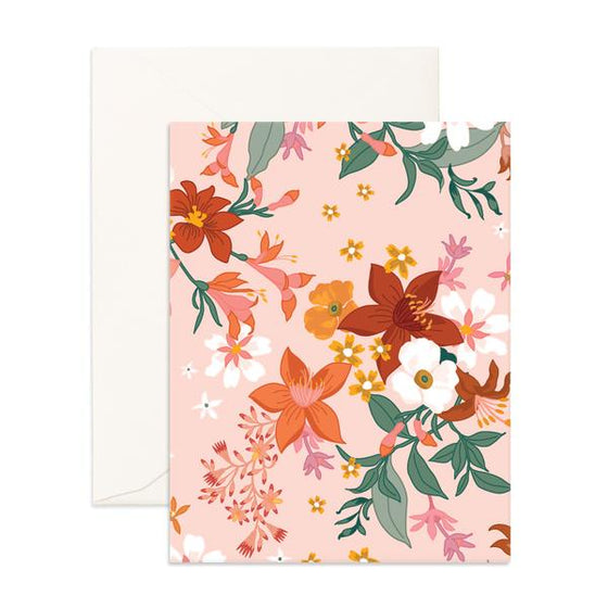 Blank 'Bohemia Cream Florals' Greeting Card