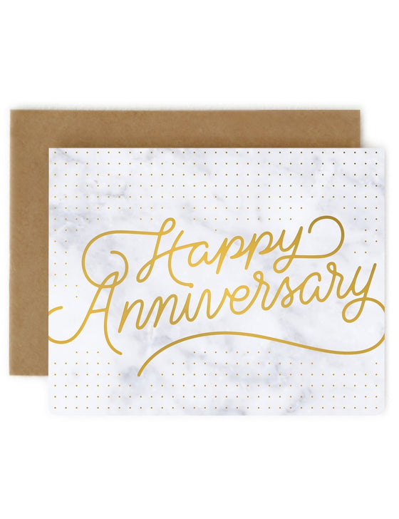 White Marble 'Happy Anniversary' Greeting Card