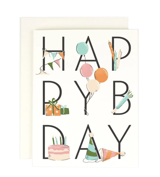 'Happy BDay' Cake & Balloons Greeting Card