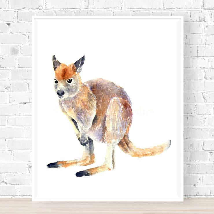 'Warren the Wallaby' Watercolour Art Print