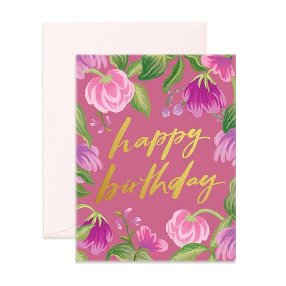 'Happy Birthday' Purple Floral Greeting Card