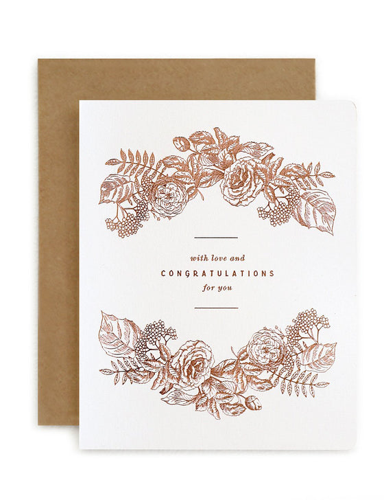 Botanical 'With Love & Congratulations For You' Greeting Card