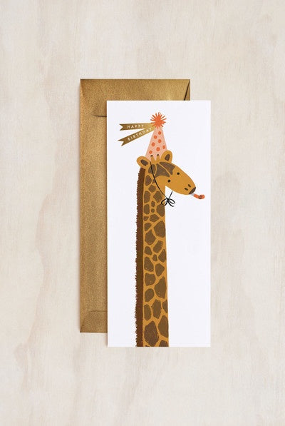 'Happy Birthday' Giraffe Tall Greeting Card