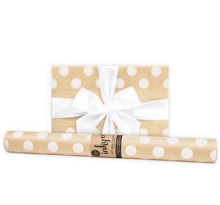 'Large White Dot' Kraft Gift Wrap (10m Roll)