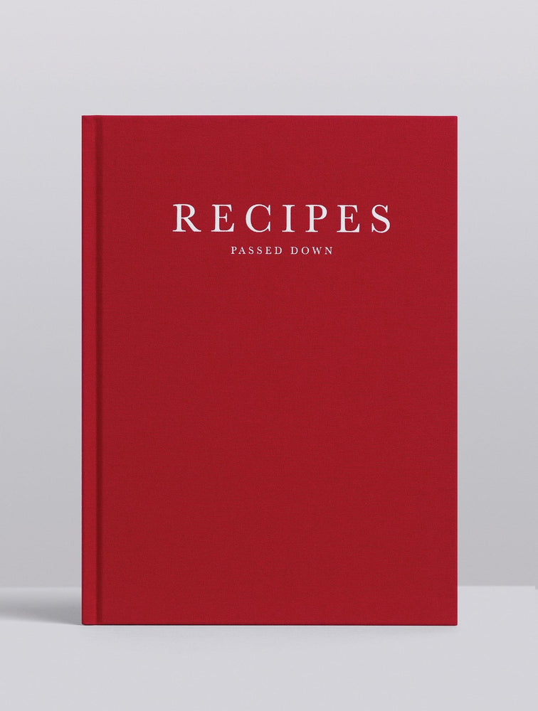 'Recipes Passed Down' Recipe Journal in Wine Red Linen