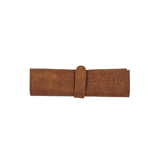 'Antique Brown' Leather Roll Case