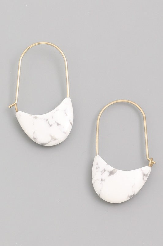 Grace Semi Precious Stone Drop Earrings in Howlite Stone