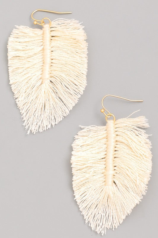 Loose Leaf Threaded Fan Fringe Earrings in Ivory