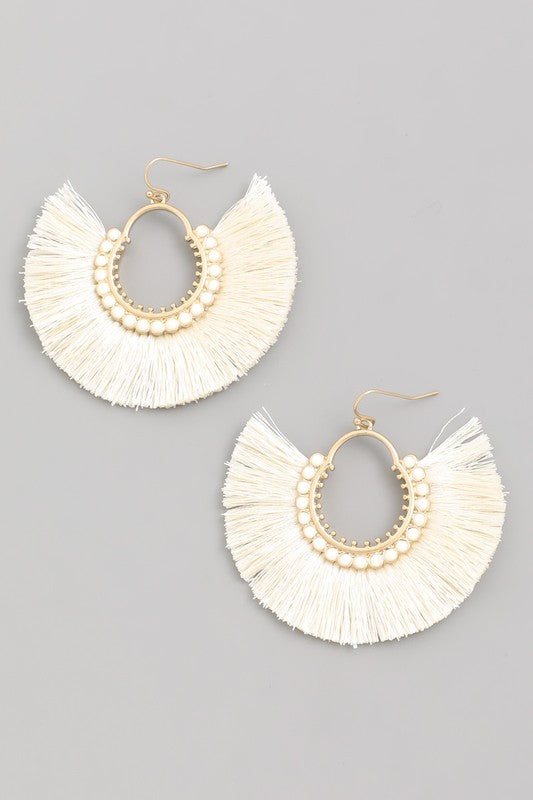 Always Fierce Tassel Fan Drop Earrings in Ivory