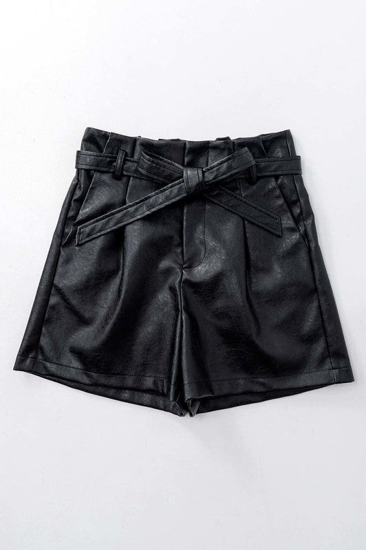 Unagi Faux Leather Belted Shorts / FINAL SALE