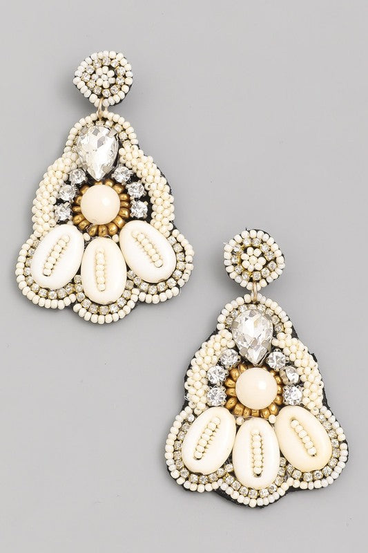 You're a Gem Boho Beaded Drop Earrings in Ivory