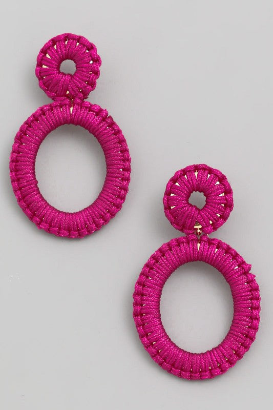 Hot Enough Threaded Oval Drop Earrings in Fuchsia Pink / FINAL SALE