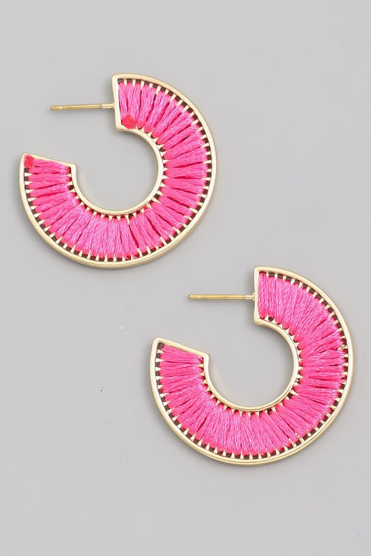 Heat It Up Mini Threaded Hoop Earrings in Fuchsia Pink / FINAL SALE