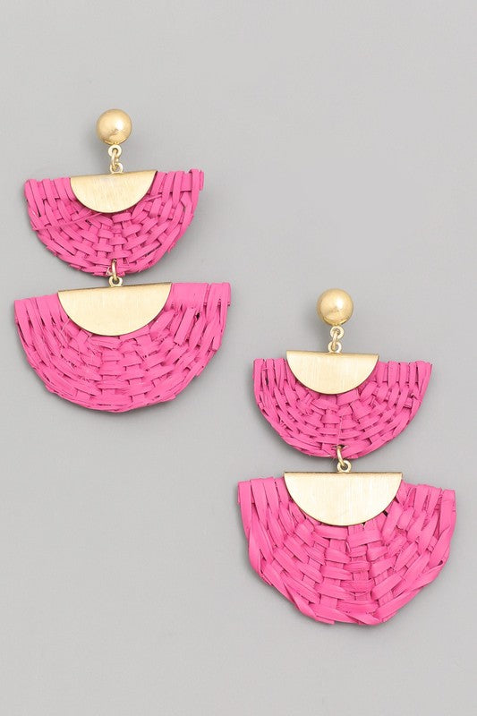 Pretty in Pink Semi Circle Straw Drop Earrings in Fuchsia / FINAL SALE