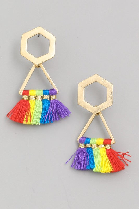 Love is Love Mini Geo Tassel Drop Earrings in Rainbow / FINAL SALE