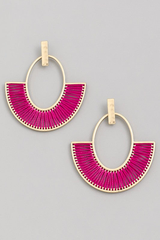 Flamingo Vibes Fan Thread Drop Earrings in Fuchsia / FINAL SALE
