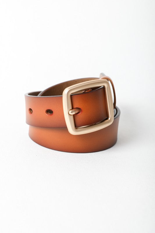Instant Connection Faux Leather Belt in Camel