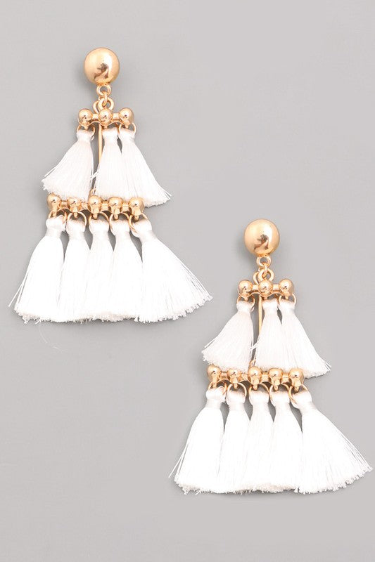 SOLD OUT/ Bentley Chandelier Tiered Tassel Earrings in White