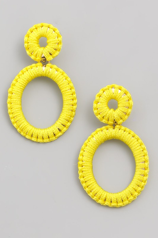 Hot Enough Threaded Oval Drop Earrings in Yellow / FINAL SALE