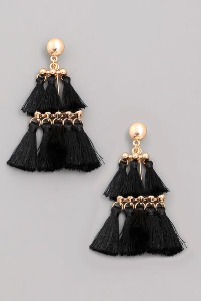 SOLD OUT / Bentley Chandelier Tiered Tassel Earrings in Black