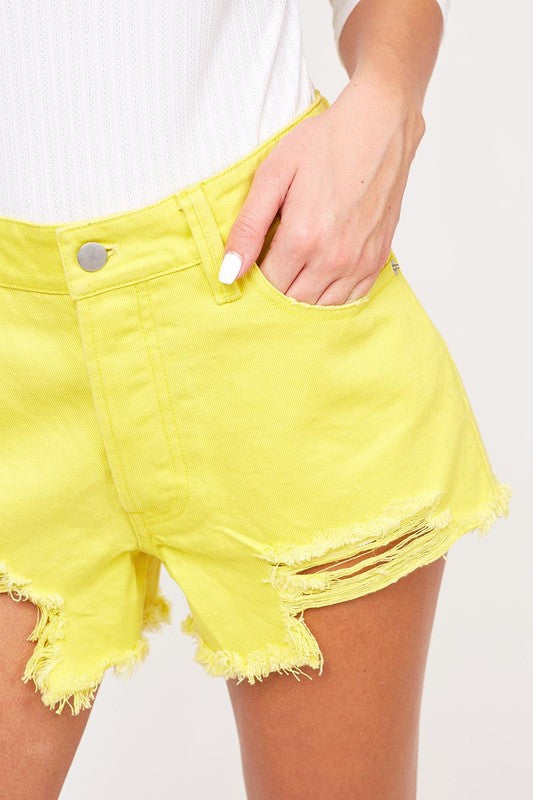 For the Love of Lemons Distressed Denim Shorts in Neon Yellow / FINAL SALE