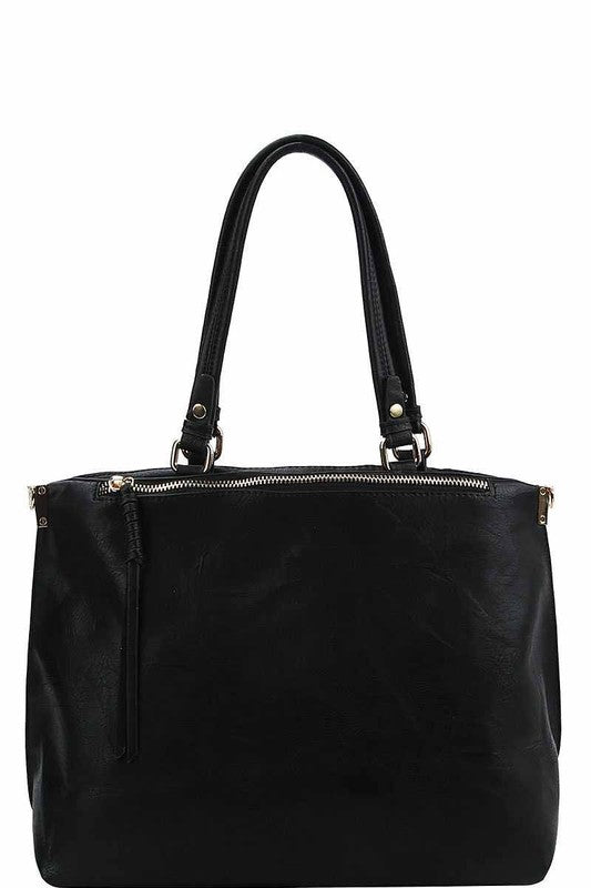 Office Chic Vegan Leather Zip Up Handbag