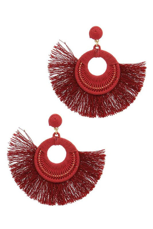 Drawing Circles Tassel Post Drop Earrings
