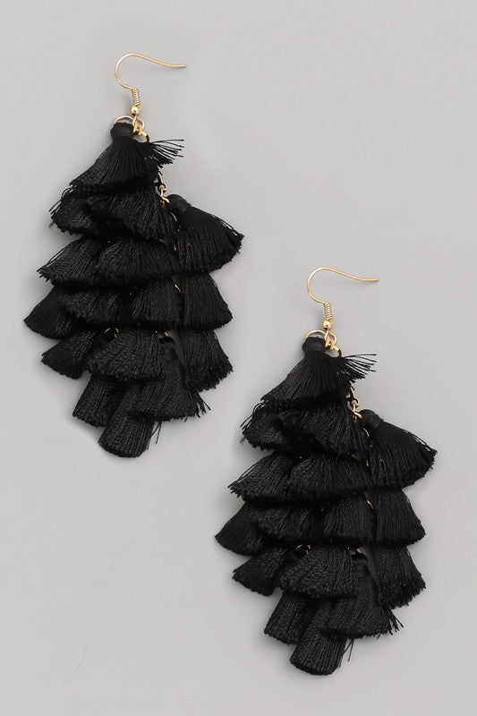 Gimme More Multi Mini Tassel Earrings in Black