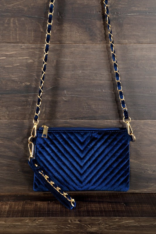 Velvet Crush Chevron Quilted Convertible Bag
