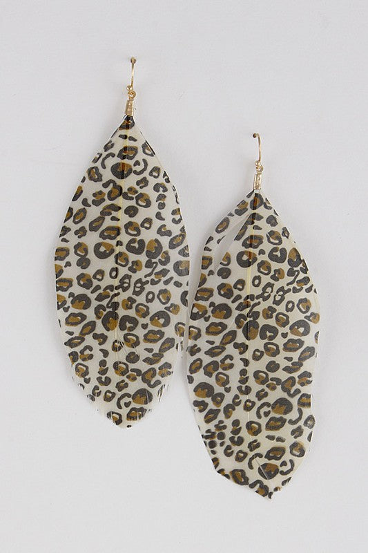 Light as a Feather Earrings in Light Leopard