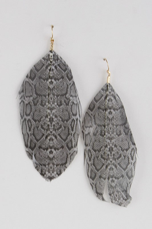 Light as a Feather Earrings in Snake
