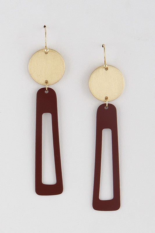 All Day Everyday Rectangle Dangle Earrings in Burgundy