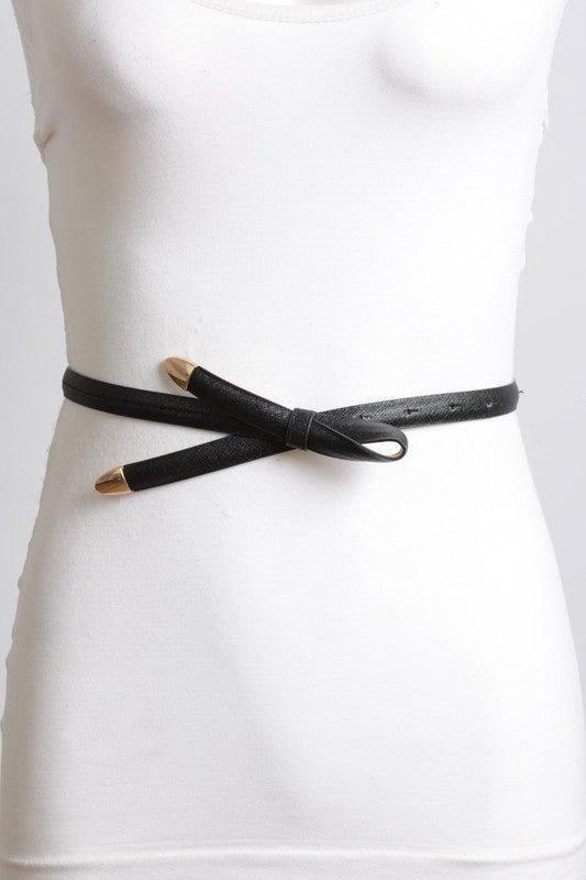 Tie it Up with a Bow Skinny Saffiano Leather Belt