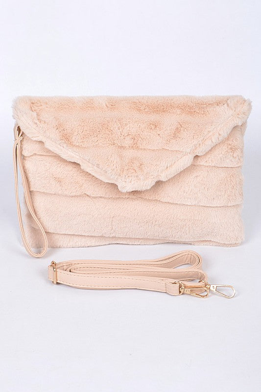 Rabbit Soft Faux Fur Handbag in Beige / FINAL SALE