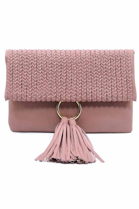 Forever Mine Tassel Clutch in Dusty Pink