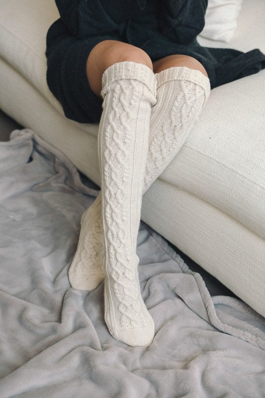 Giving Me Those Cozy Feels Cable Knit Socks