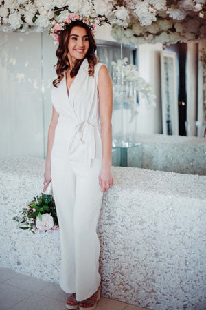 FLASH SALE / Cambridge Wrap Jumpsuit in Ivory