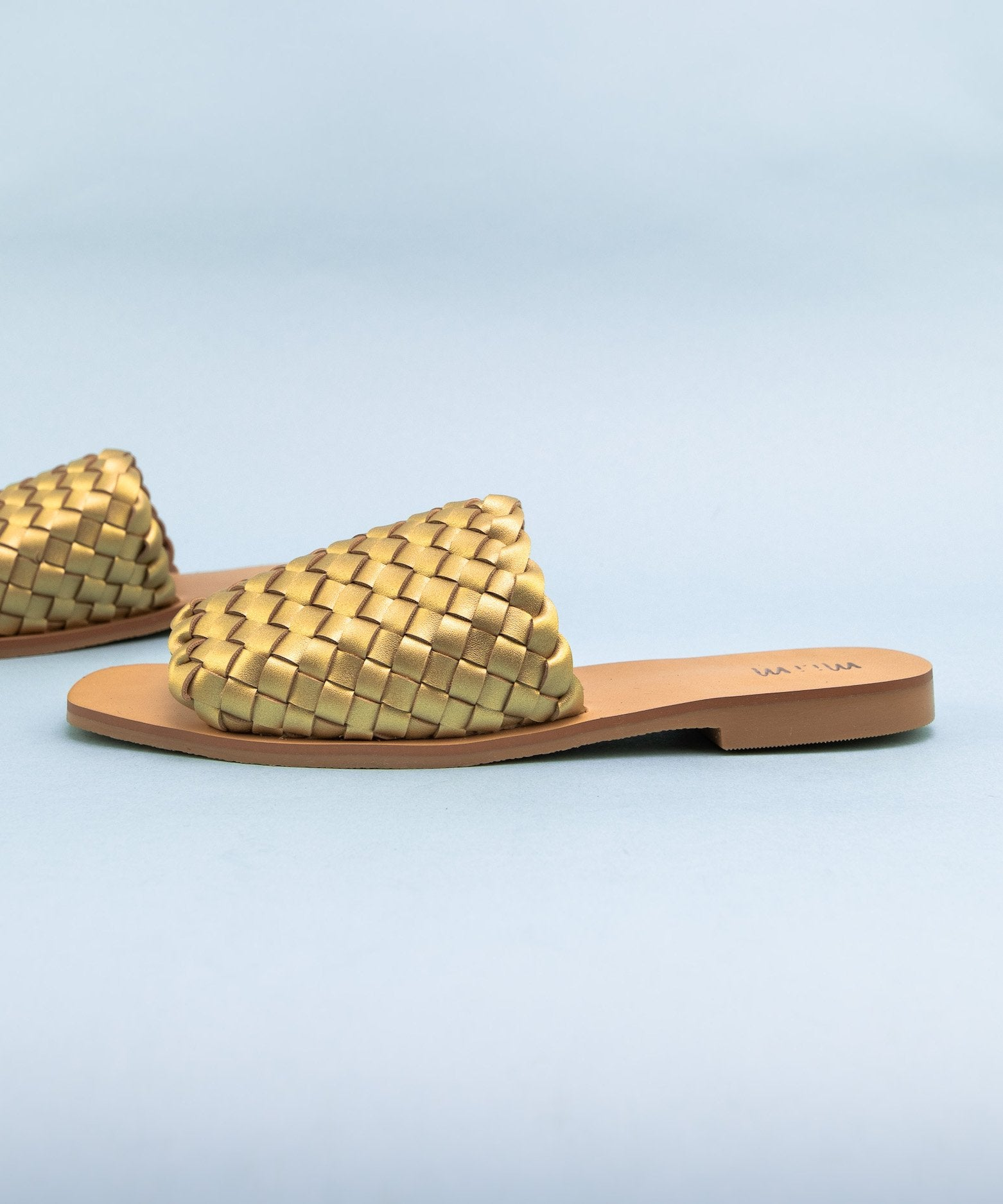 Charlotte Artisan Made Woven Slides in Gold / FINAL SALE