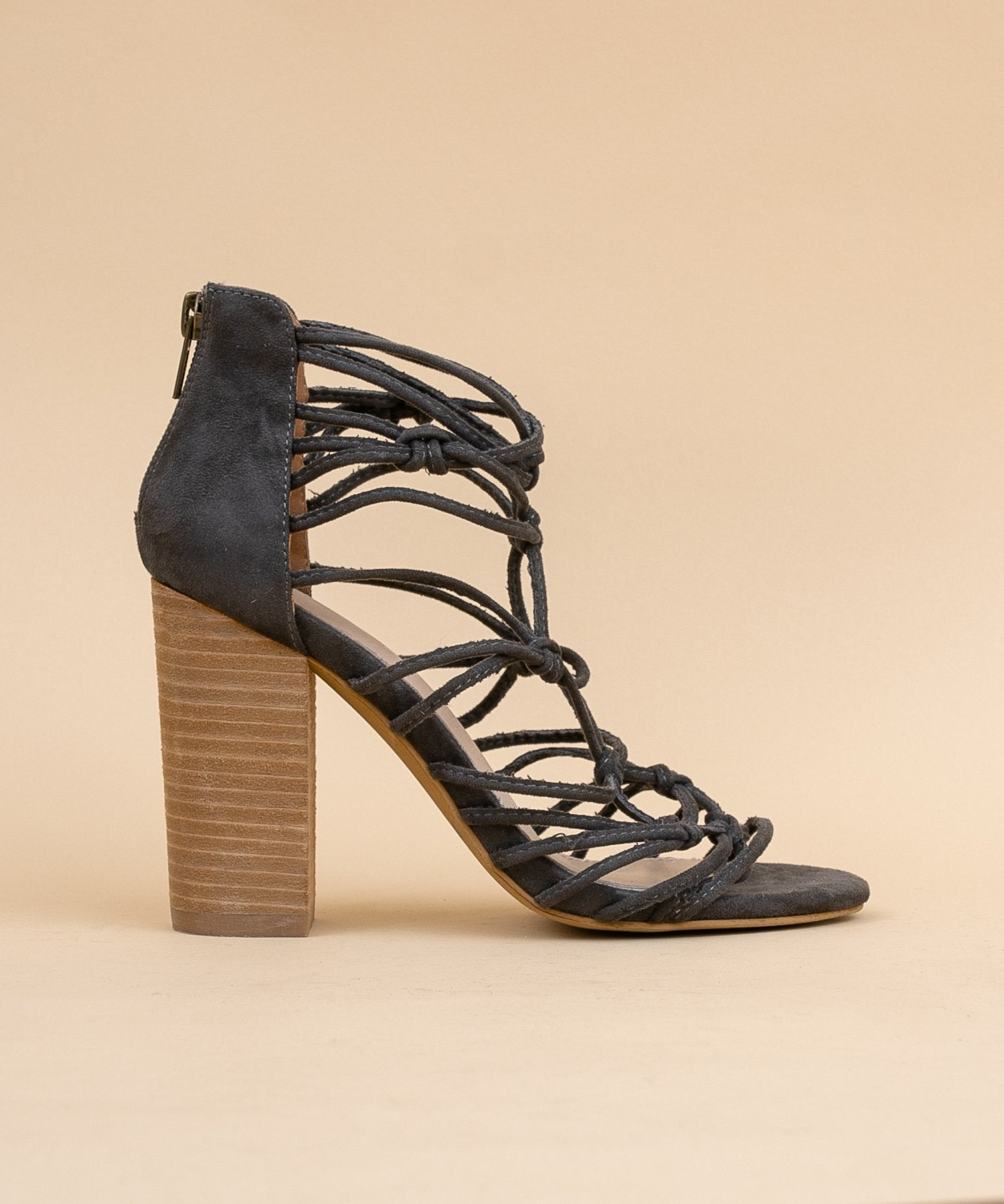 Clara Hand Knotted Strappy Heels in Dark Grey / FINAL SALE