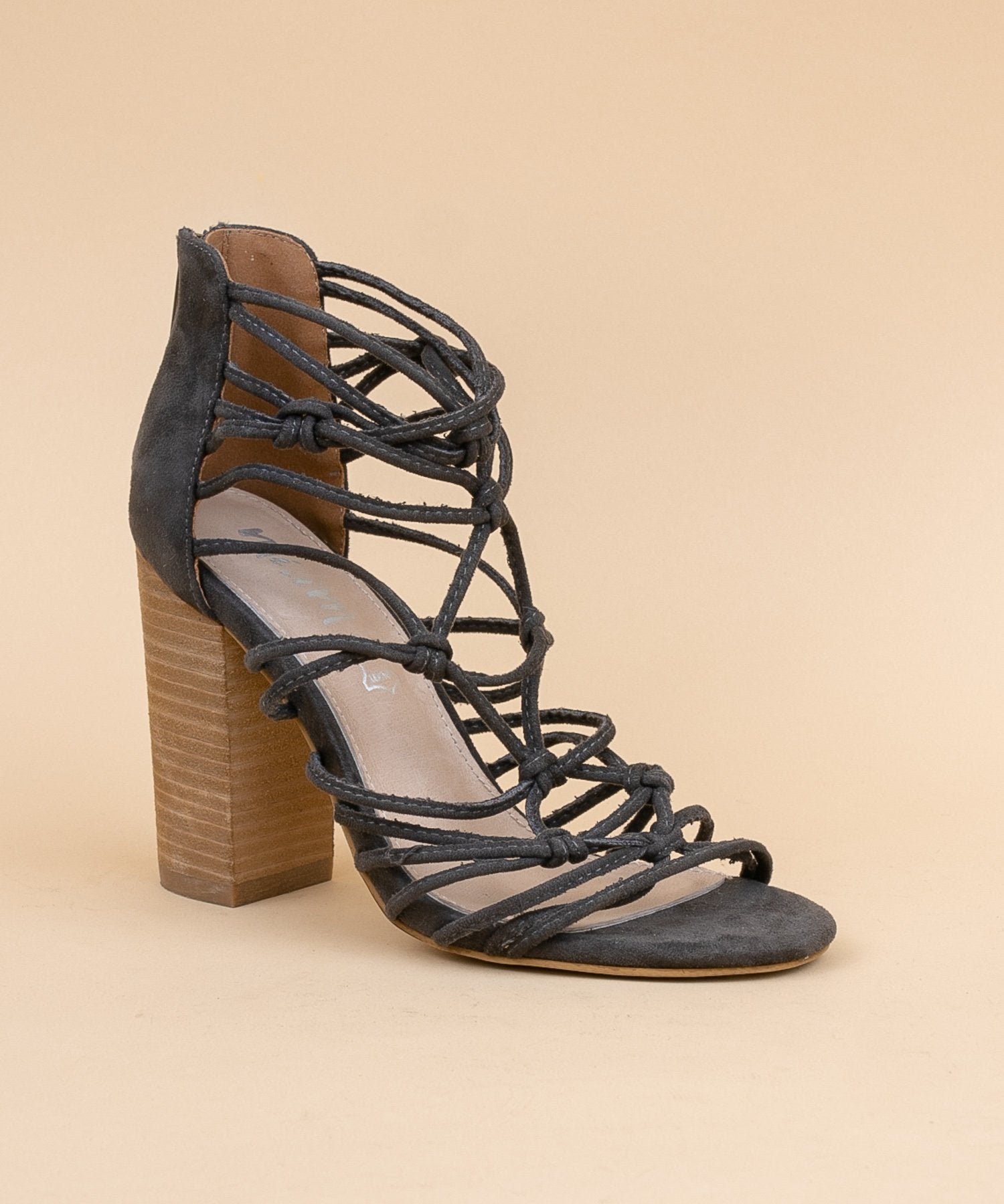 Clara Hand Knotted Strappy Heels in Dark Grey