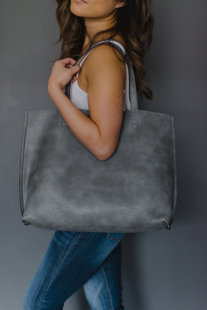 SOLD OUT / Out for the Day Reversible Tote Bag in Gray