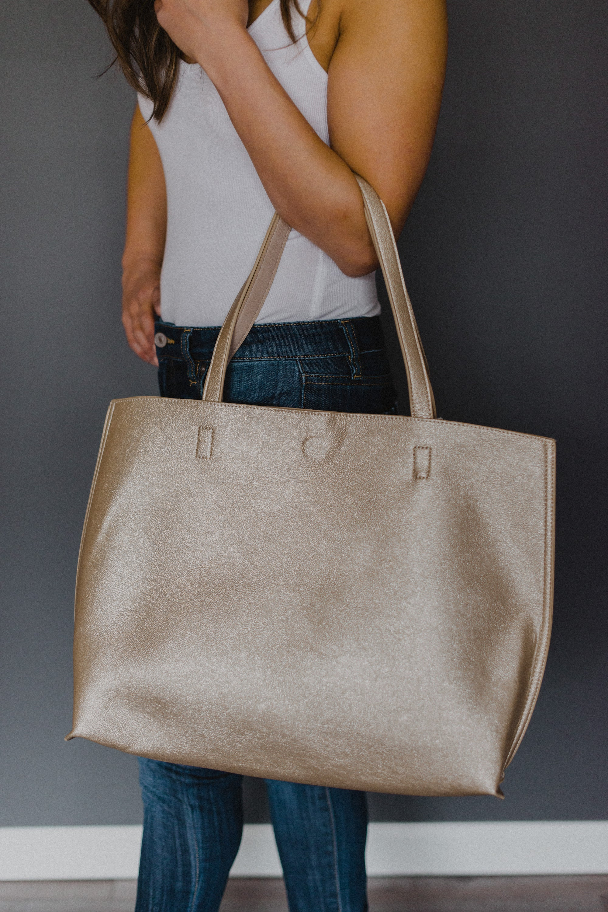 xSOLD OUTx Out for the Day Tote Reversible Bag in Champagne-Stone