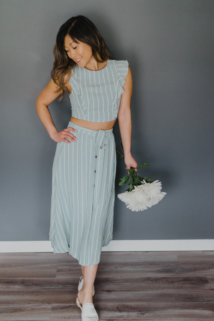 Mint to Be Striped Ruffle Crop Top